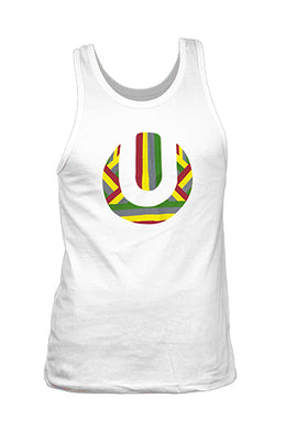 White Male Vest with Rasta Coloured (Red, Green, Yellow) ULTRA SA Logo