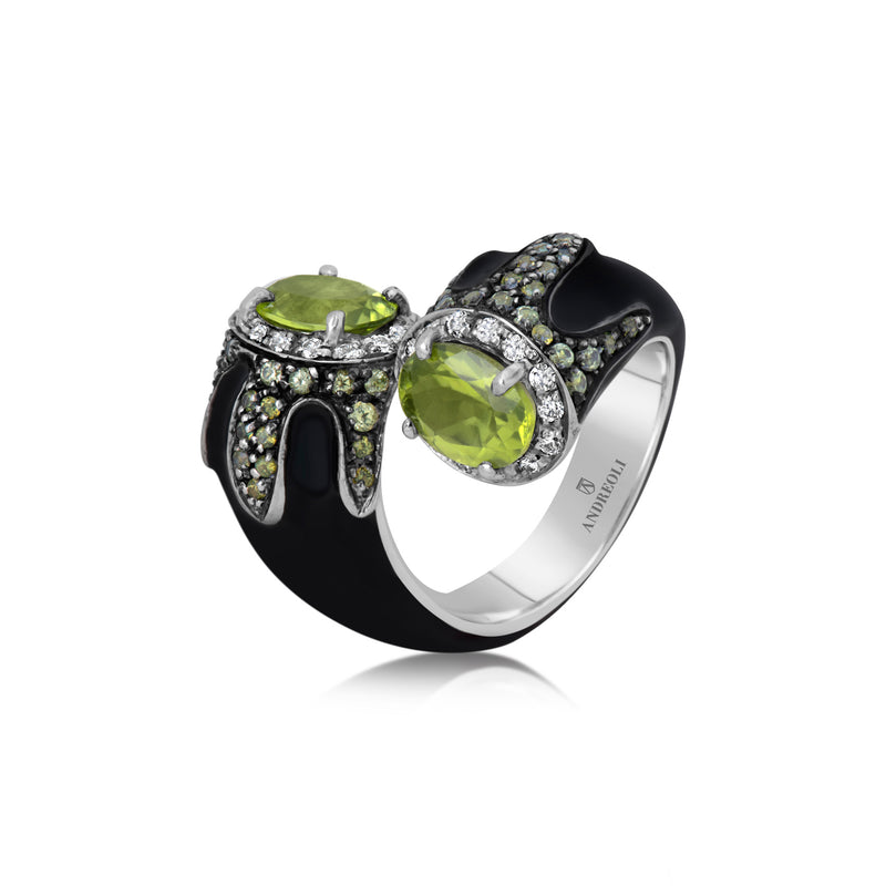 Peridot Black Enamel Ring