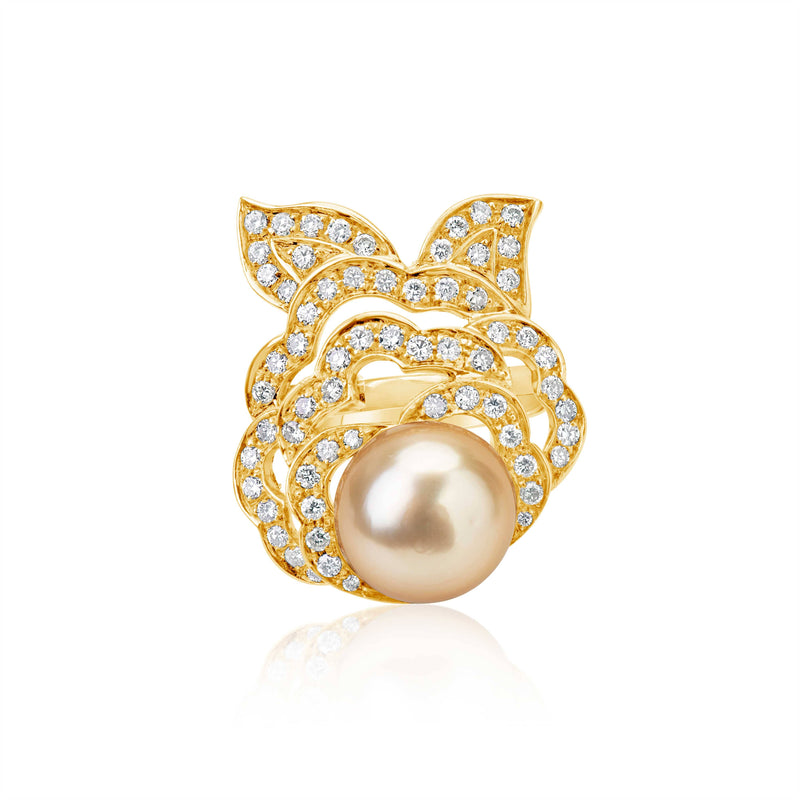 Golden Pearl Ring Yellow Gold