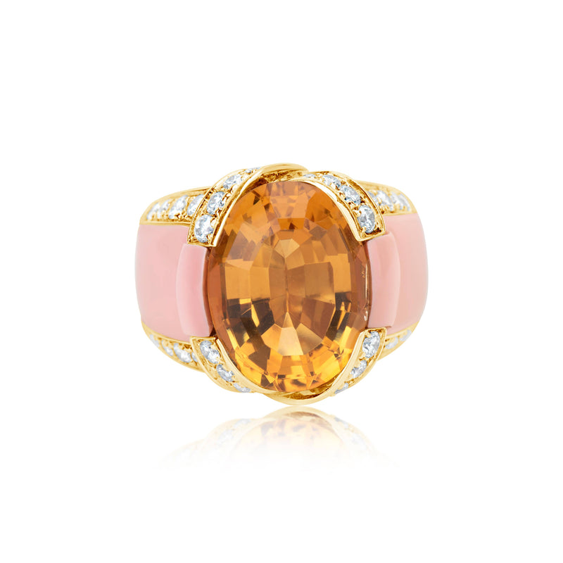 Italian Coral and Citrine Ring