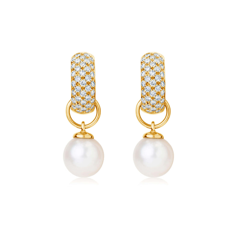 Pearl Drop Earrings Yellow Gold