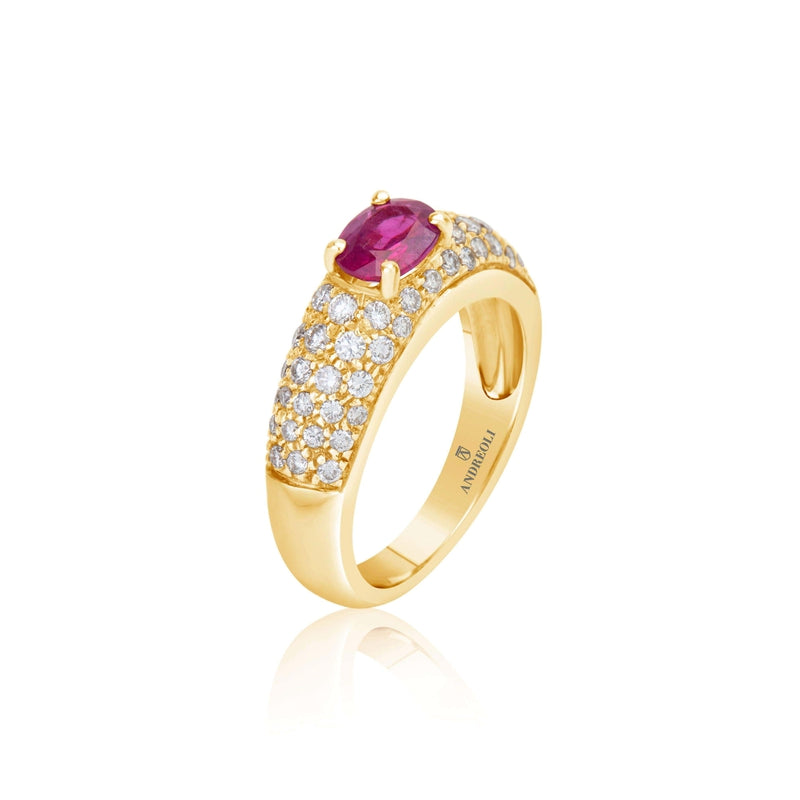 Ruby Engagement Ring Yellow Gold