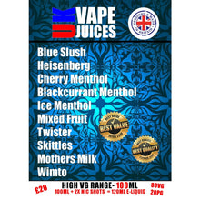 Load image into Gallery viewer, 100ml UK VAPE JUICE menu