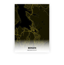 Load image into Gallery viewer, Bergen poster - Black Lantern - Printmycity