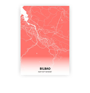 Bilbao poster - Coral Sunset - Printmycity