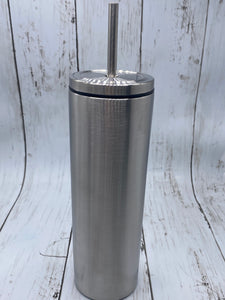 Skinny Tumbler w/ Metal Screw Lid & Straw 20 oz - Tumblers