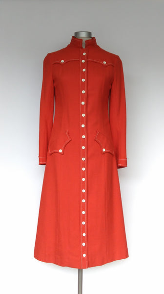 Red Linen Look 1960s Coat