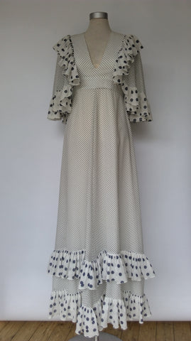 Polka Dot Maxi Dress 1970s