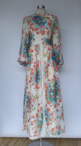 Floral and Lace Maxi Dress 1970s
