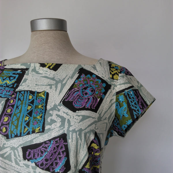 Quirky Print Dress 1950s