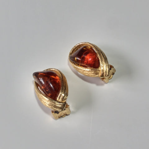 1960s Faux Amber Earrings