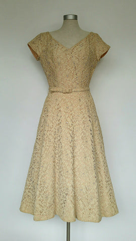 Diamante studded lace 1950s dress