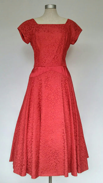 Red Lace Dress 1950s