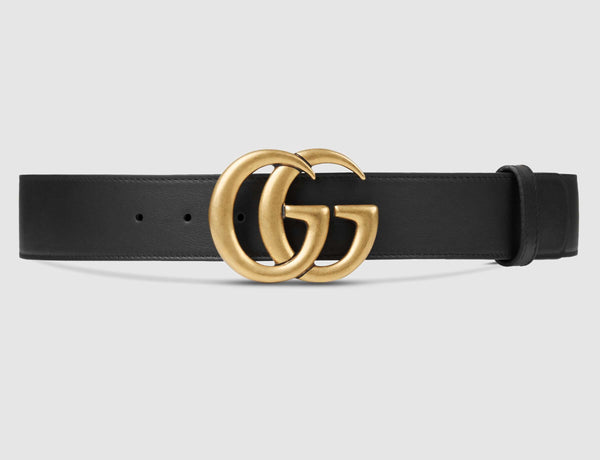 Black Leather Belt Gold / Silver Buckle 35 mm