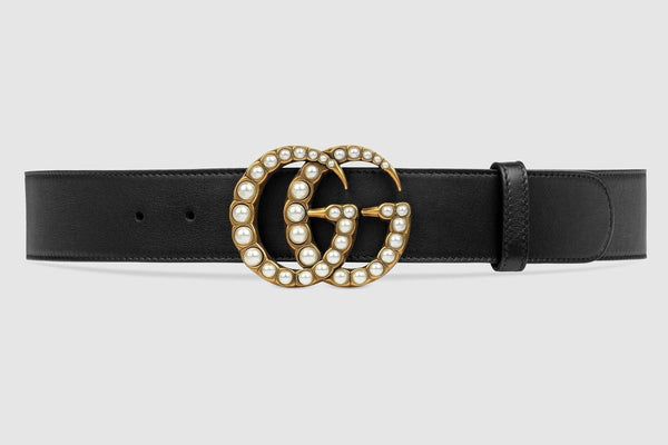 Black Leather Belt Pearly Buckle