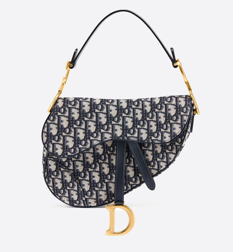 Saddle bag in blue Oblique jacquard canvas,