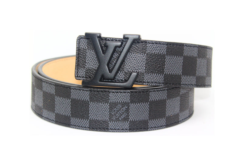 GREY DAMIER LEATHER BELT