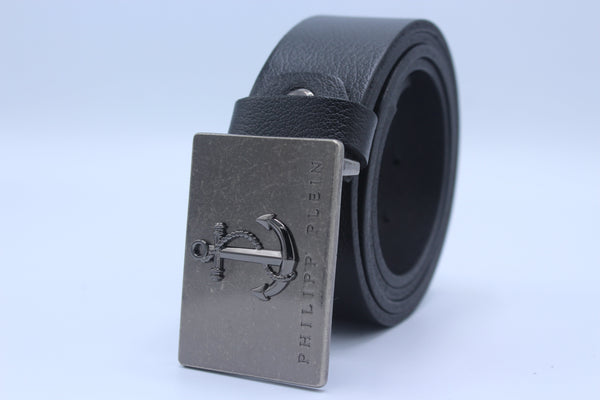 Black Leather Belt, Silver Buckle For Man