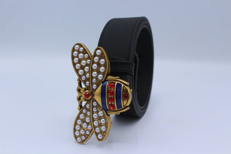 Perfect Bee Figured Black Leather Belt