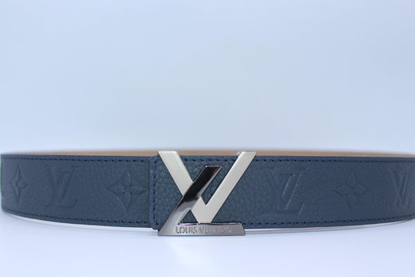 New Buckle Dark Blue Leather Belt