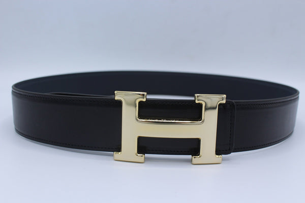 H Buckle Belt Reversible Dark Blue&Black Belt