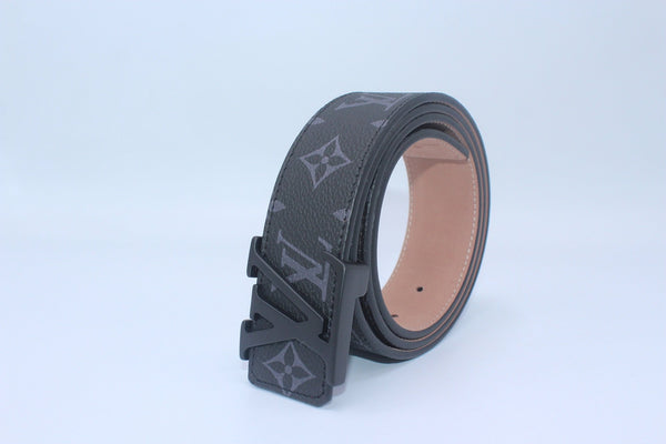 Black Monogram style Leather Belt
