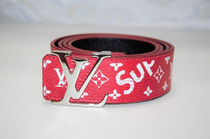 Red Monogram Leather Belt
