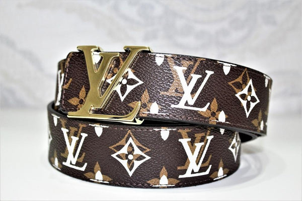 New Brown Monogram style Leather Belt Amazing
