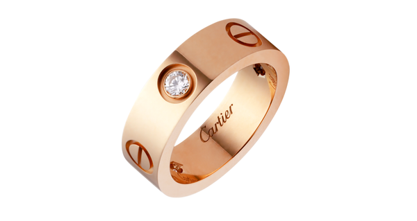 Stainless Steel Love Wedding Band With Beads Rose Gold Color