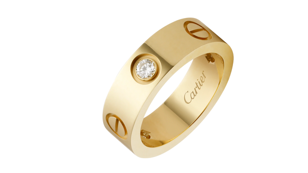 Stainless Steel Love Wedding Band With Beads Gold Color