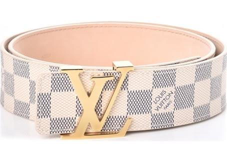 White Damier Leather Belt