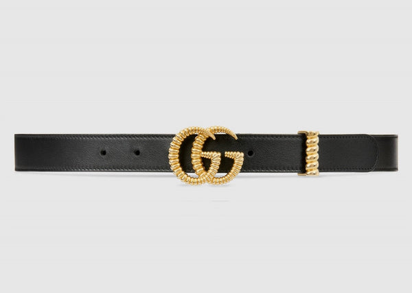 Torchon Double G Buckle Black Leather Belt