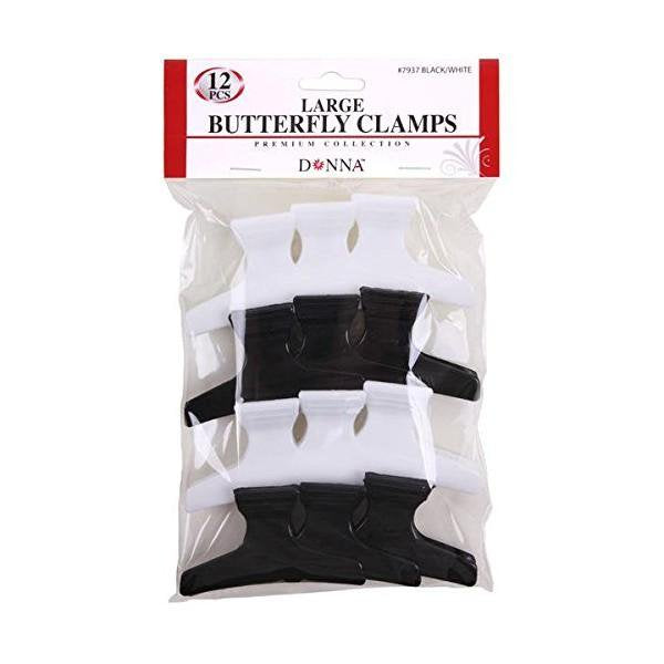 Large Butterfly Clamps 12 Pack Black and White