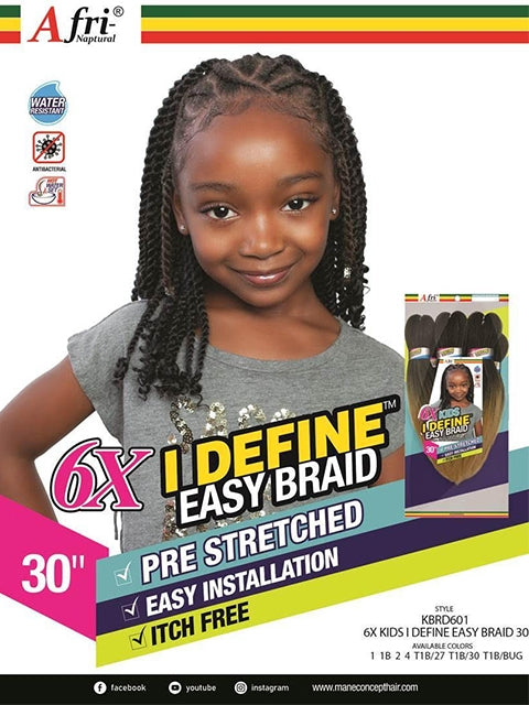 Afri Naptural 6X Kids I DEFINE EASY Braid 30 (KBRD601)