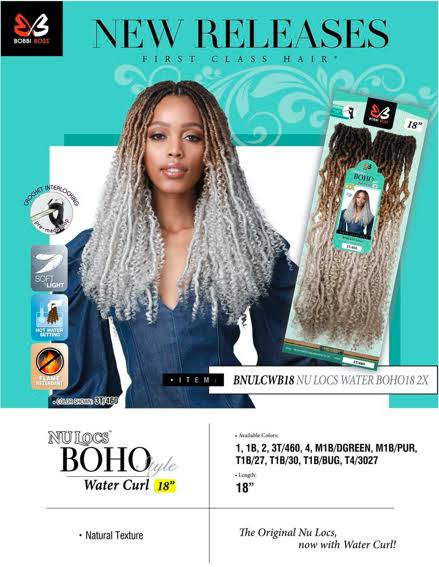 Bobbi Boss Crochet Braids Nu Locs Boho 2X Water Curl 18""