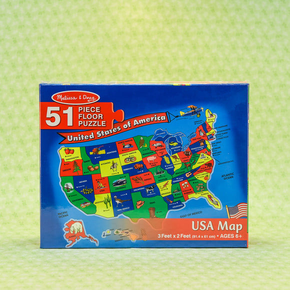 USA Map 51 Piece Floor Puzzle