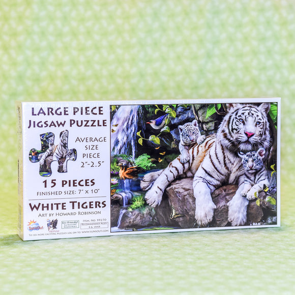 White Tigers 15 Piece Puzzle