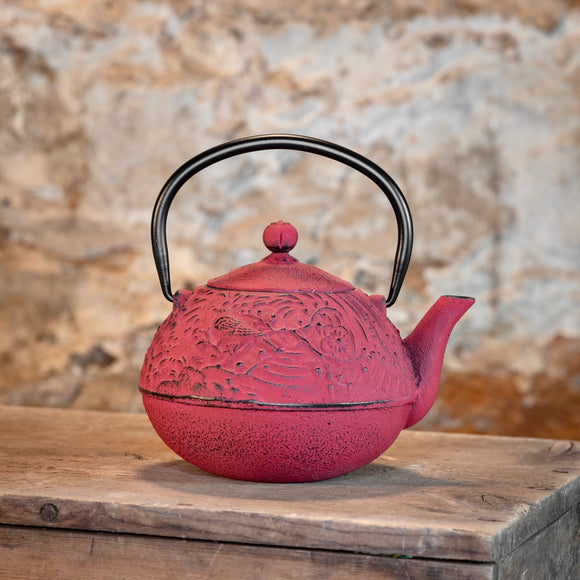 Red Cast Iron Tea Pot