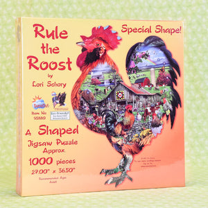Rule the Roost 1000 Piece Puzzle - Rooster Shaped