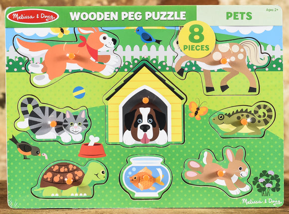 Wooden Peg Puzzle Pets - 8 Pieces