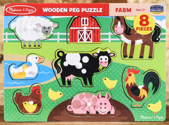 Wooden Peg Puzzle On The Farm - 8 Pieces