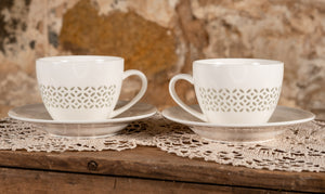 Rice Grain Porcelain Tea Cup With Saucer - Set of Two