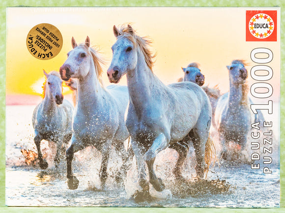 White Horses At Sunset 1000 Piece Puzzle