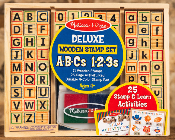 Wooden Stamp Set - Deluxe ABC's & 123's