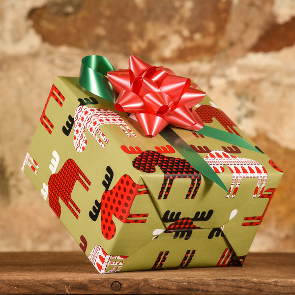 Complimentary Gift Wrap: Plaid Moose