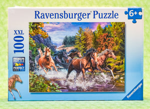 Rushing River Horses 100 Piece Puzzle
