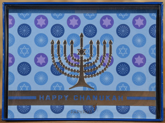 Boxed Cards - Silver Foil Menorah