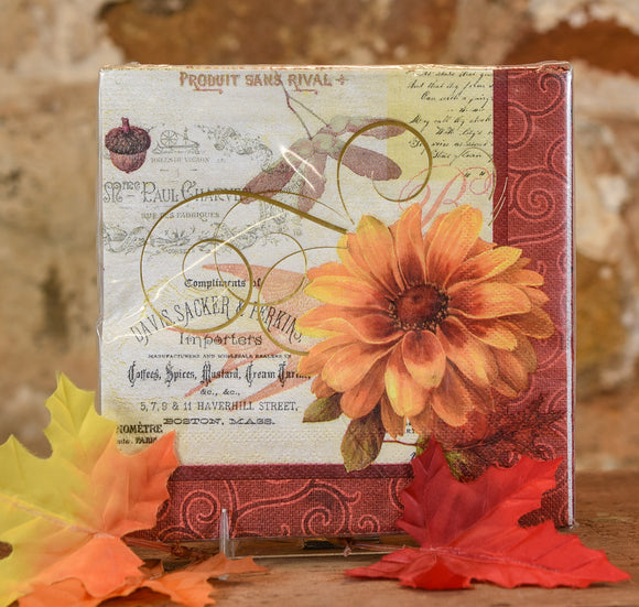 Paper Napkins - Lunch Fall Flowers