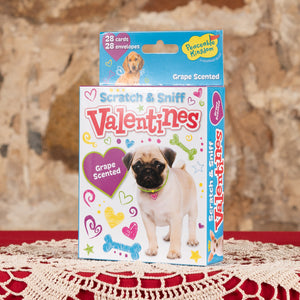 Puppy Scratch & Sniff Valentine Cards - Grape Scented