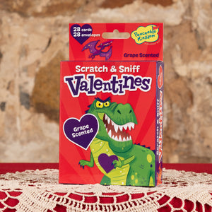 Dino Scratch & Sniff Valentine Cards - Grape Scented